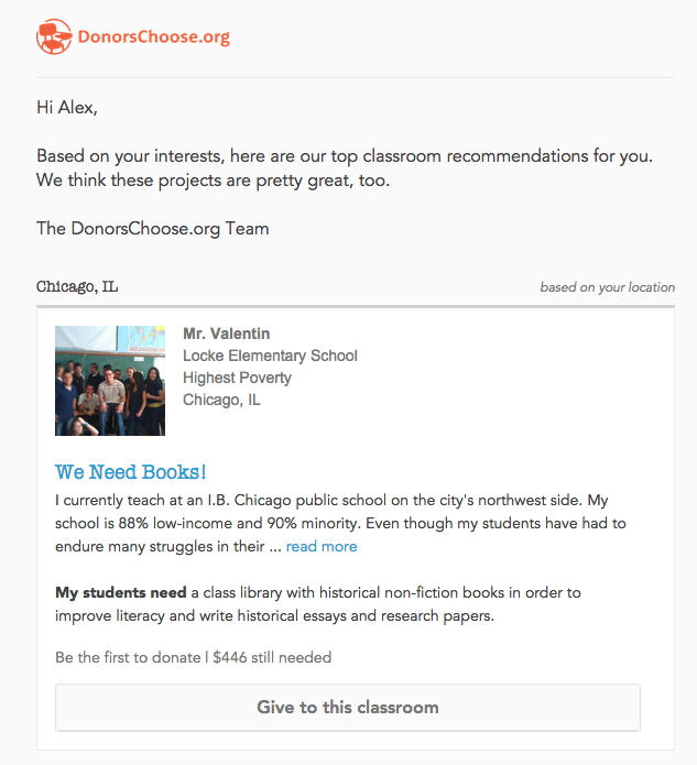 a local recommendation from donorschoose
